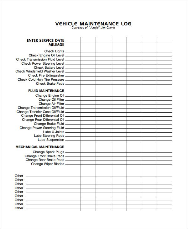 vehicle maintenance log excel template