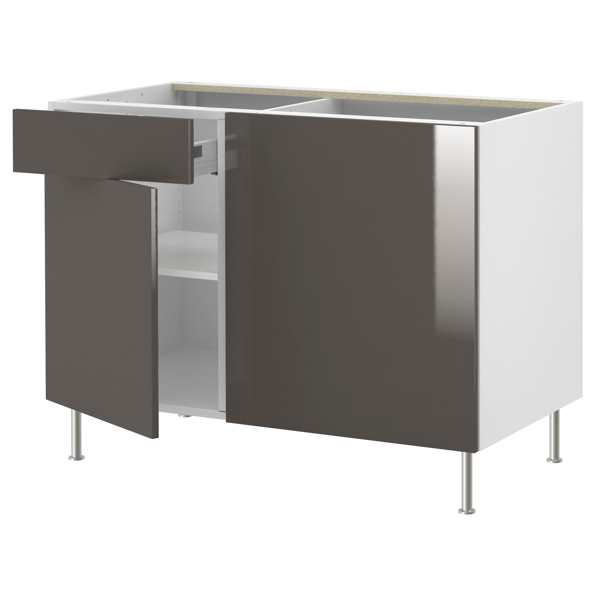 Corner base kitchen cabinet  AKURUM Corner base cabinet with shelf  birch effect Abstrakt high