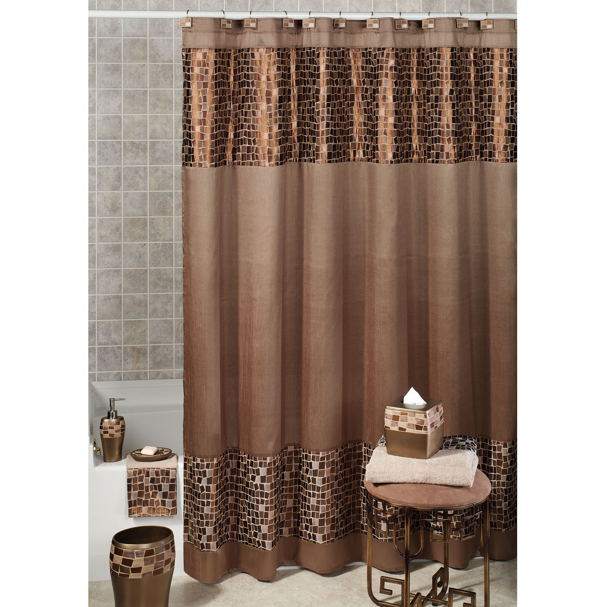 Bronze Mosaic Stone Fabric Shower Curtain With Images Elegant