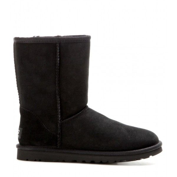 Classic Short boots UGG Australia ($245) ❤ liked on Polyvore featuring shoes, boots, ankle booties, suede ankle booties, long black boots, suede ankle boots, ankle boots and black suede ankle booties