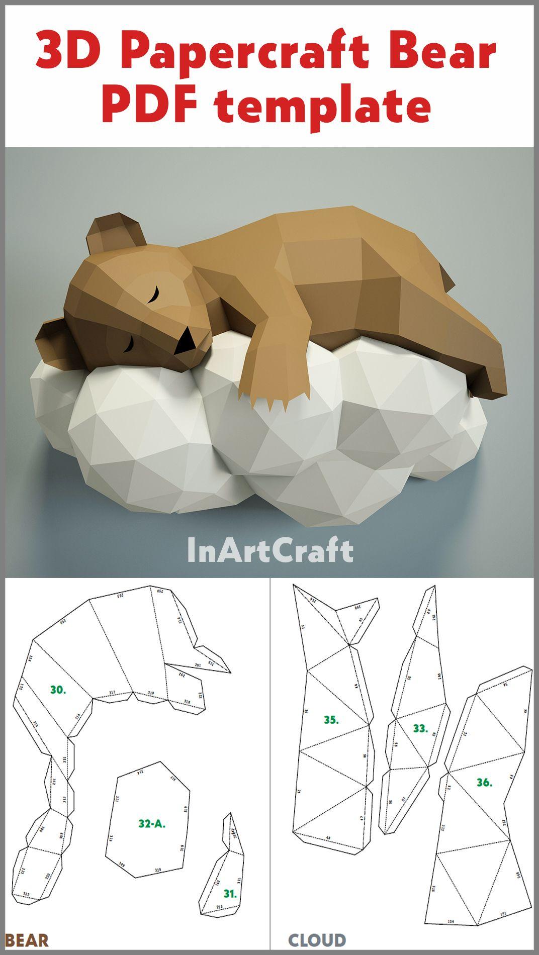 étourdissant  Mot-Clé PDF Papercraft Bear on a cloud, Paper Craft 3D origami kit, 3D Papercraft animal, DIY paper model