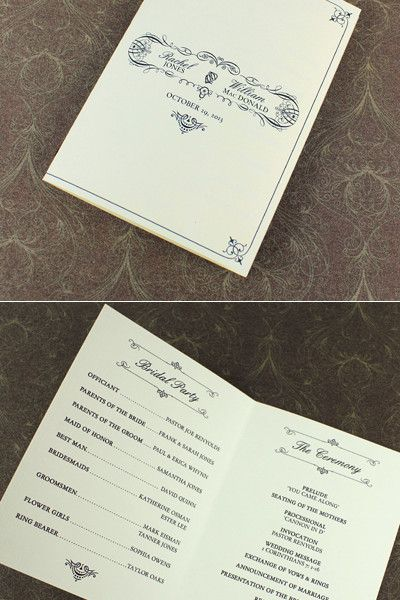 4-Page Wedding Program Template with Vintage Typography Booklet - wedding program inclusions
