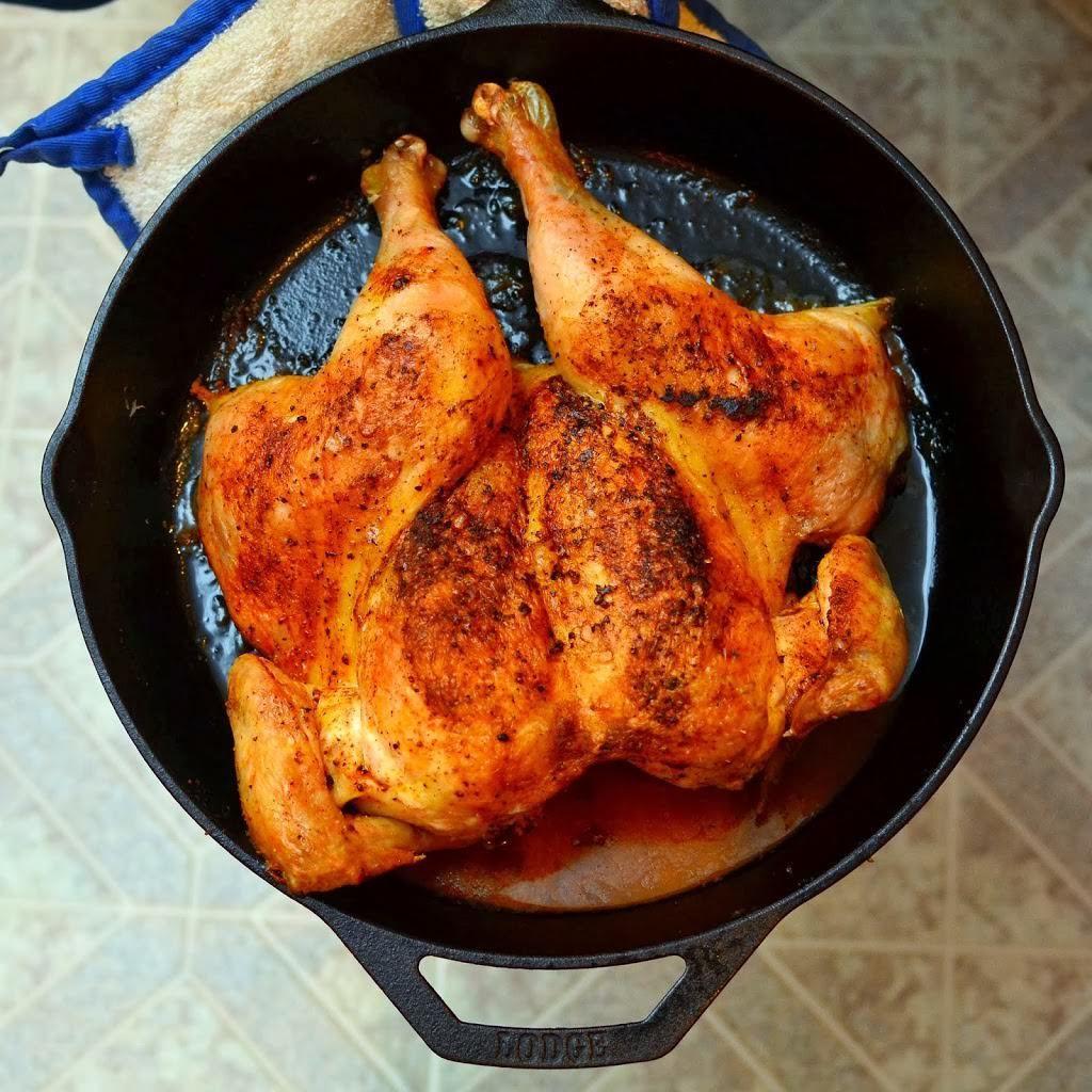 Cast Iron Roasted Butterflied Chicken Recipe Meats Nicely Done Butterflied Chicken