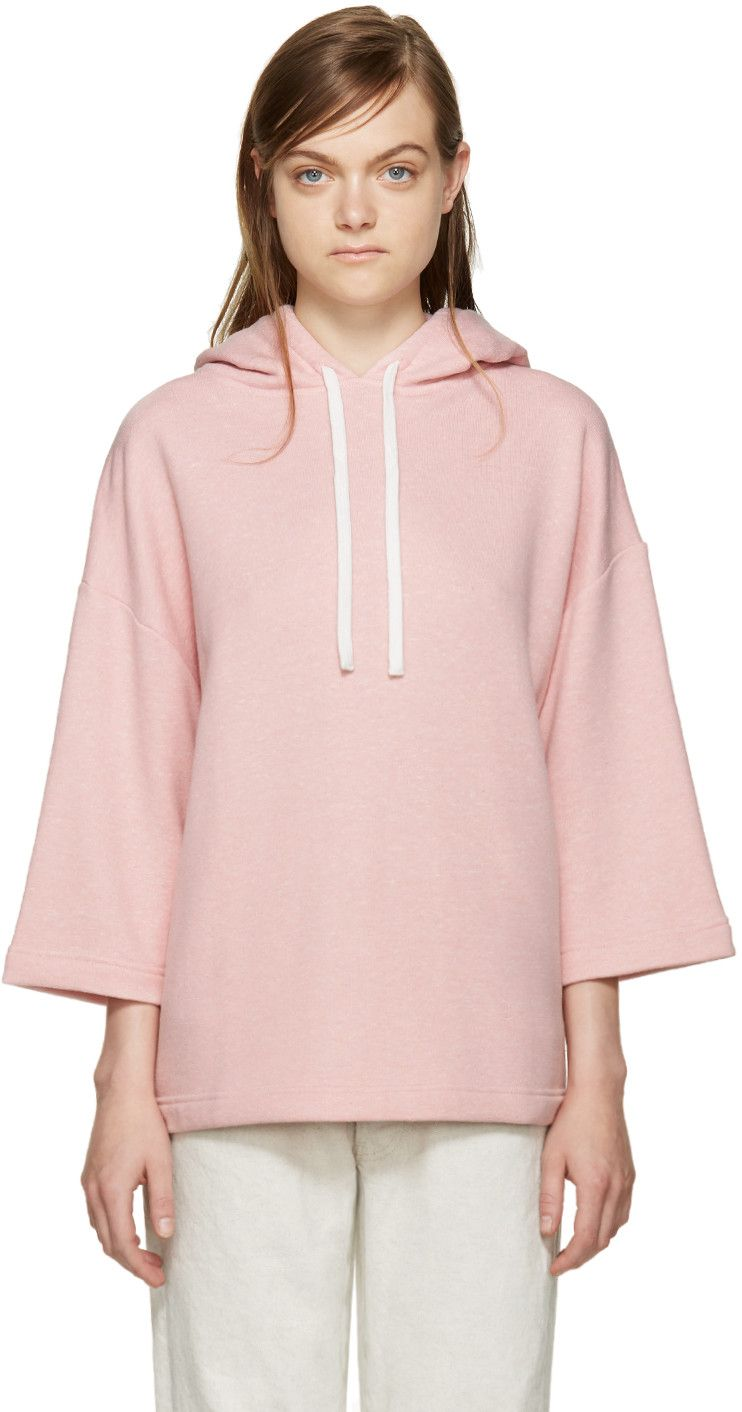 Cropped sleeve French terry hoodie in heather pink. Drawstring in white at hood. Tonal stitching.