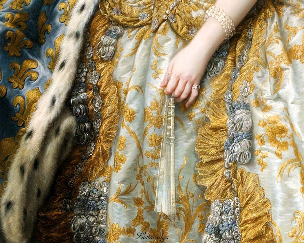 'Marie Leszczinska, Queen of France' (detail) 1747 by Charles-André van Loo Carle or Charles-André van Loo [French painter of Dutch origin 1705 –1765] Oil on canvas Palace of Versailles, Mars Salon