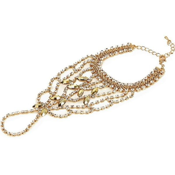 River Island Gold tone embellished hand harness ($32) ❤ liked on Polyvore featuring jewelry, body jewelry / harnesses, gold, women, goldtone jewelry, body chain jewelry, chains jewelry, body chain jewellery and chain harness jewelry