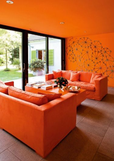 Decoración de salas de estar en color naranja, salas color naranja