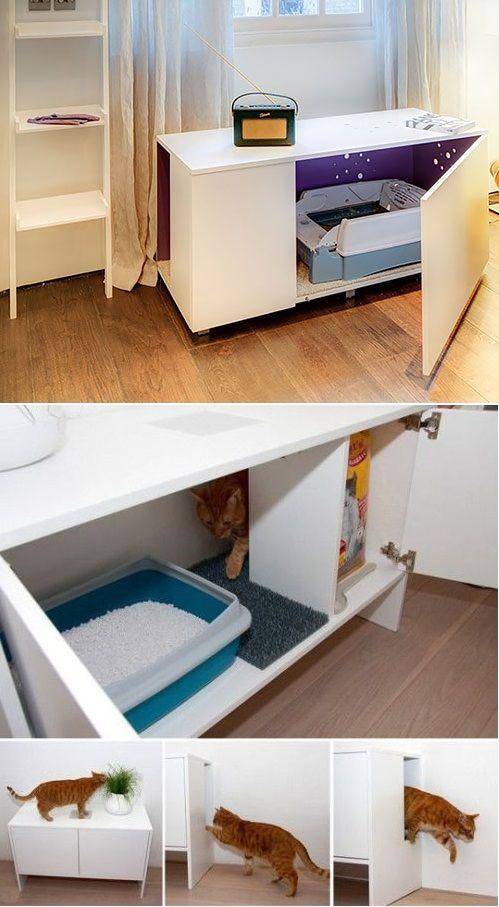 Mueble para interior de casa,un baño de lujo para tu gato