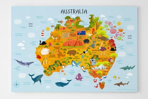teach your child about australia with picturetas map of australia canvas print australia map features states and territories capital cities