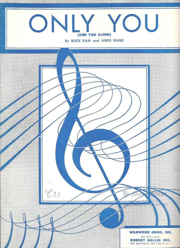 All Music Chords only you sheet music free : Only You (And You Alone) Sheet Music 1955 Vintage Buck Ram Andre ...