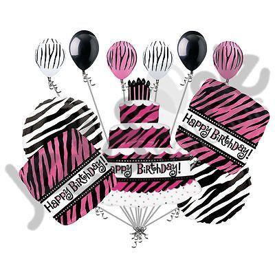 11 pc Oh So Fabulous Zebra Print Cake Happy Birthday Balloon Bouquet