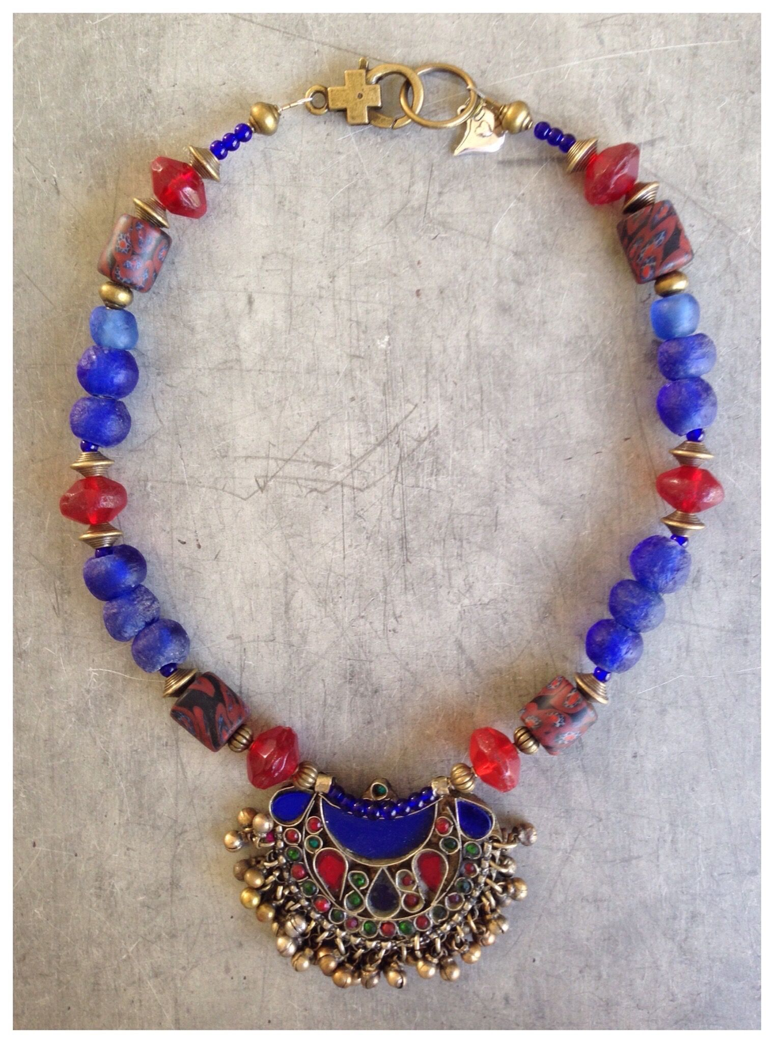 Contemporary tribal necklace with vintage trade beads and Kuchi pendant by Birdie Hill