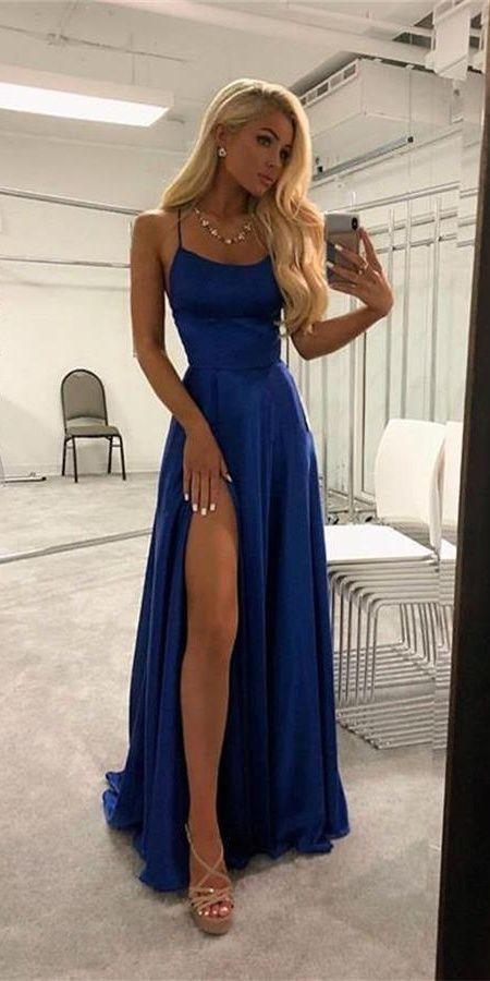 Photo of Spaghetti Straps Royal Blue Simple Cheap Elegant Long Prom Dresses Z1518