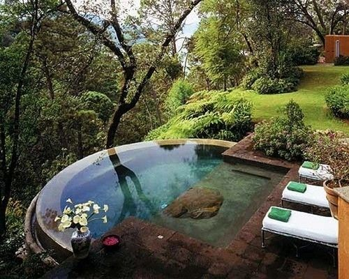Would love to come home to this... hot tub.. copper in the bottom it reminds me of autumn...my fav