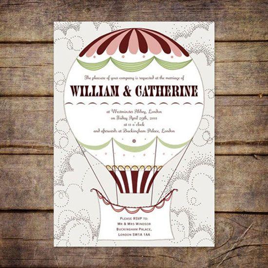 07 Hochzeitseinladungen Heissluftballon Vintage Wolke Online Einladungskarten  Drucken Luftballons Steigen Lassen
