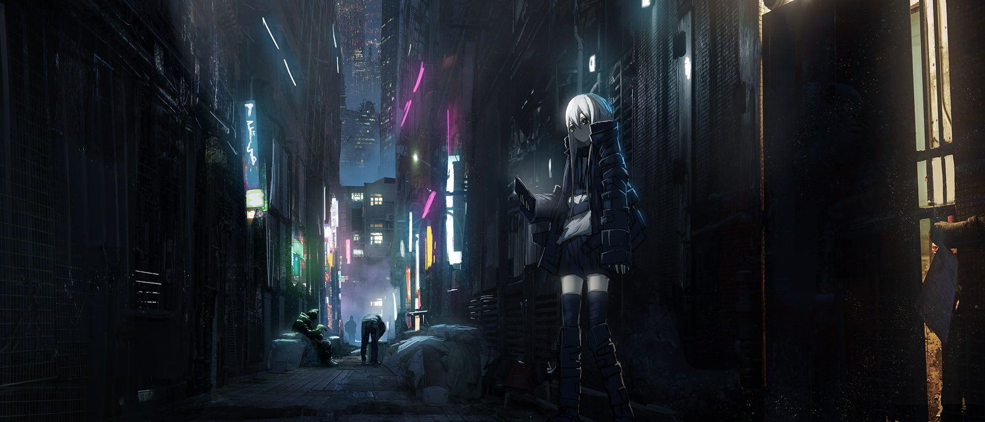 Anime Girls Anime Dark City Cyberpunk Neotokyo 1080p Wallpaper Hdwallpaper Desktop In 2020 Dark City Cyberpunk City Fantasy City