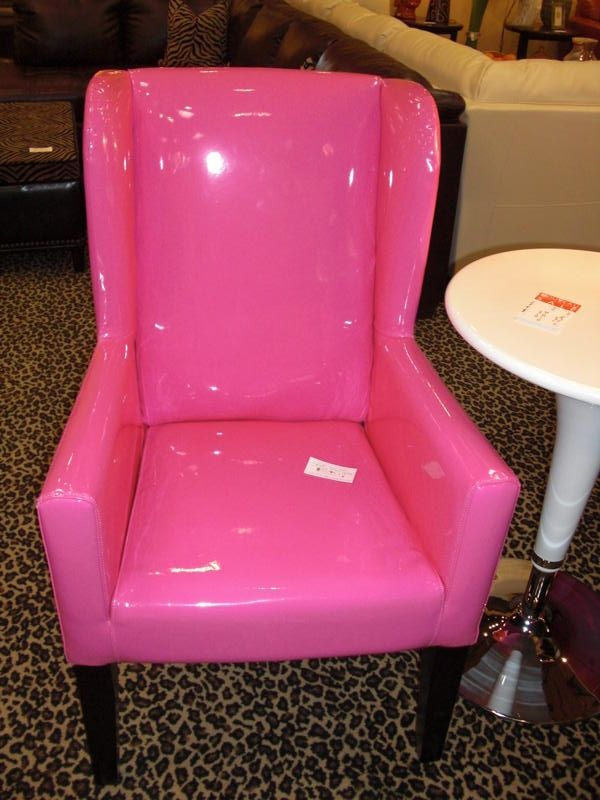 Hot Pink Patent Leather Arm Chair  Interior Decor