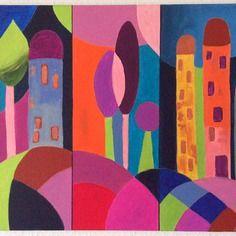 Tableau moderne paysage coloré - tableau abstrait coloré, tableau abstrait multicolore