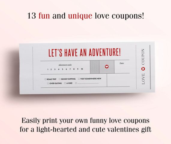 Fun Love Coupon Book - Gift for Her - 12 Funny Printable Coupons for