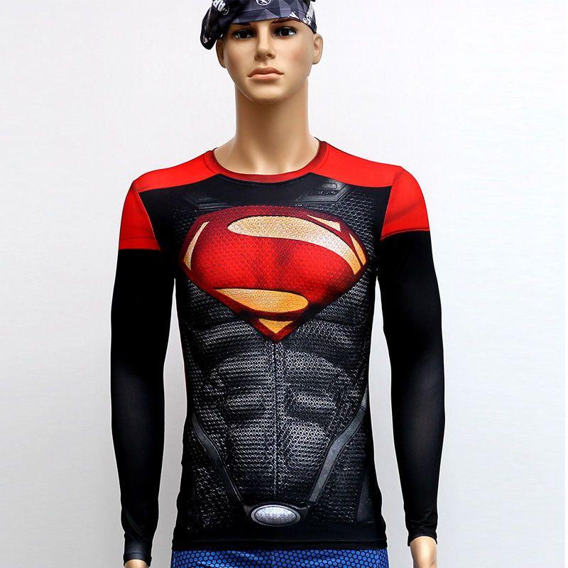 Men Compression Long Sleeve T-shirt Marvel Superhero Slim Tops Sport Cycling Tee