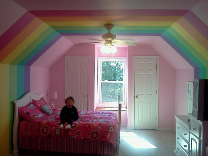 This is Emma's new room!  When asked what color she wanted her room painted, she said rainbow!
