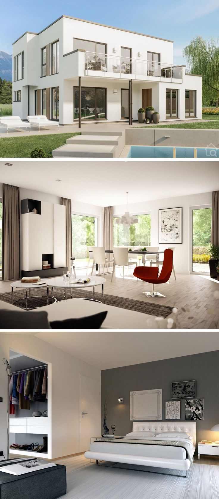 Einfamilienhaus modern Bauhaus Stadtvilla mit Flachdach ...