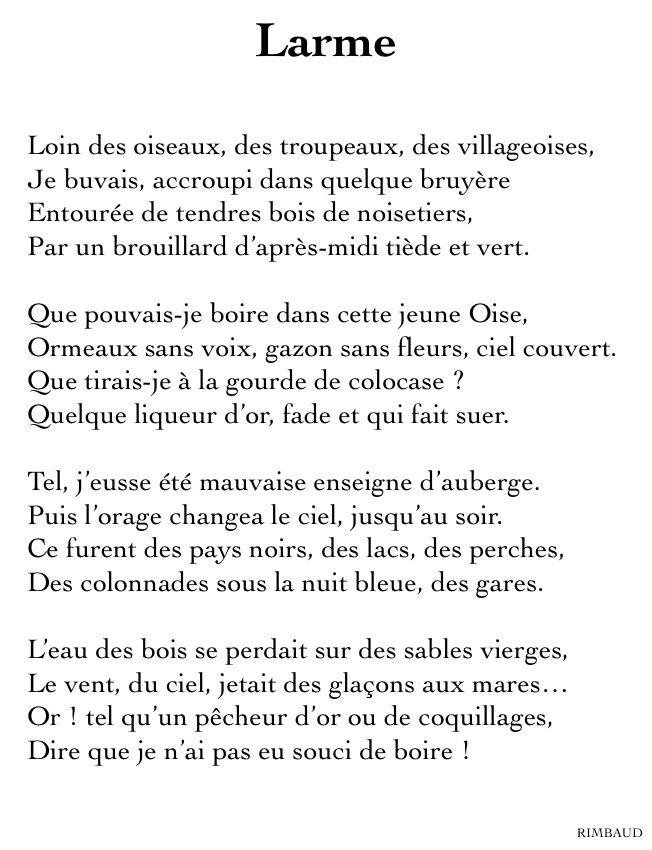 Arthur Rimbaud Larme Rimbaud Poeme Poeme Francais Et