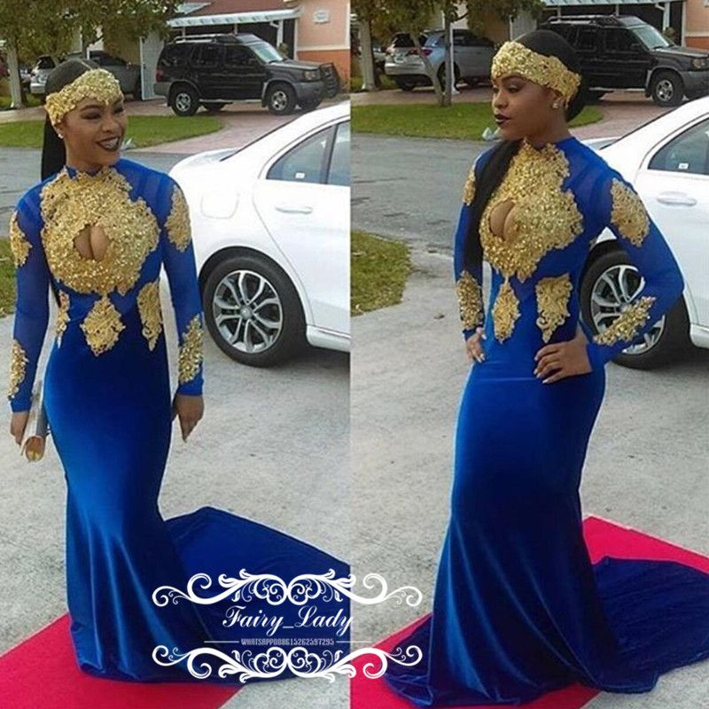 3d8ad7579662 African Women Royal Blue Mermaid Prom Dresses Long 2018 Sexy Keyhole Neck  Long Sleeves Gold Appliques Beads Graduation Dress Evening Gown