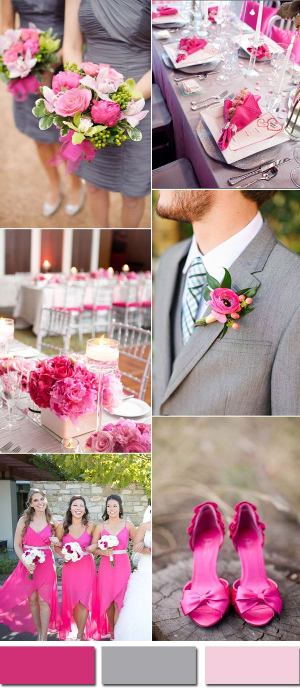Beautiful Pink And Gray Country Wedding Color Ideas