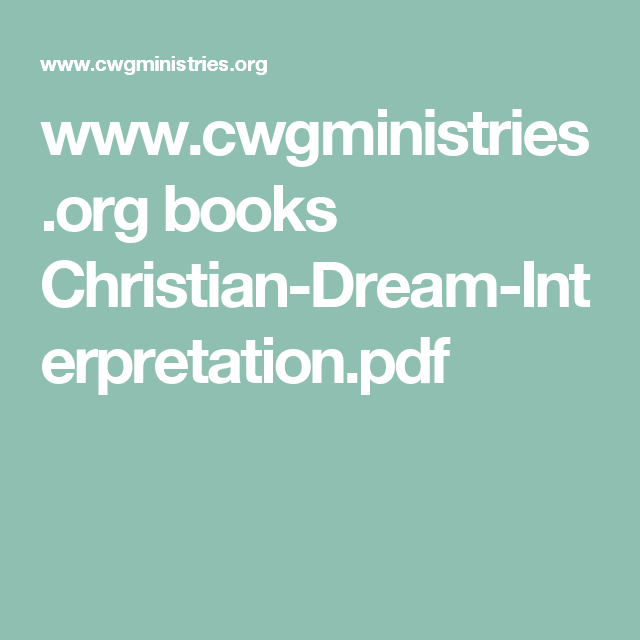 Cwgministries Books Christian Dream Interpretationpdf