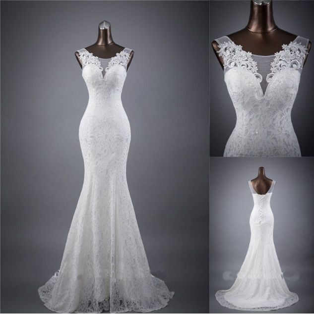 New White//Ivory Lace Mermaid Wedding Dresses Gown Stock Size 6-8-10-12-14-16