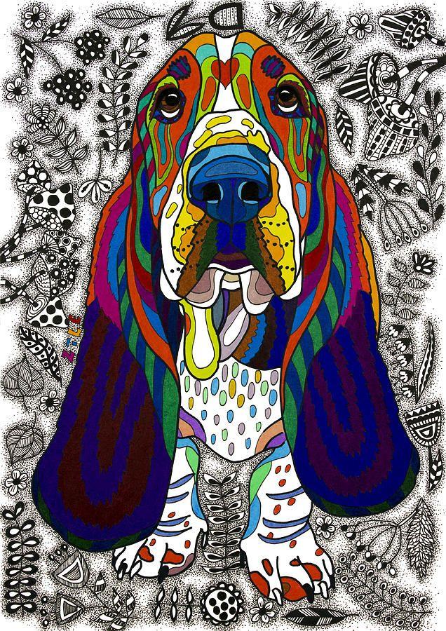 Animal Drawing - Basset Hound by Please Draw My Dog