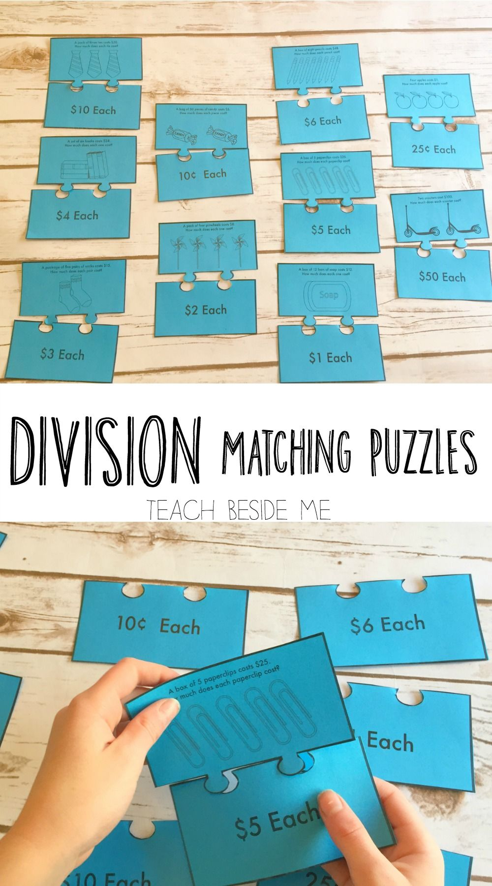 Teaching Maths Division Matching Puzzles Teach Beside Me Pinterest Math