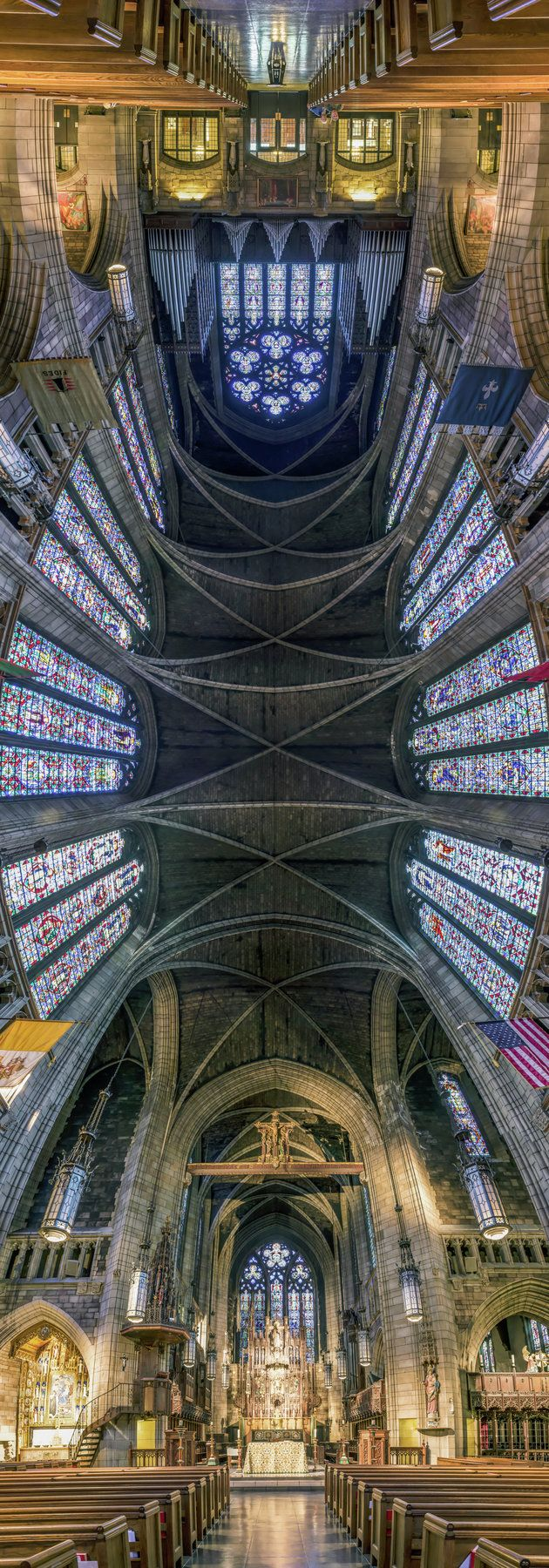 Stunning vertical panorama photo of New York's Church of St. Vincent Ferrer