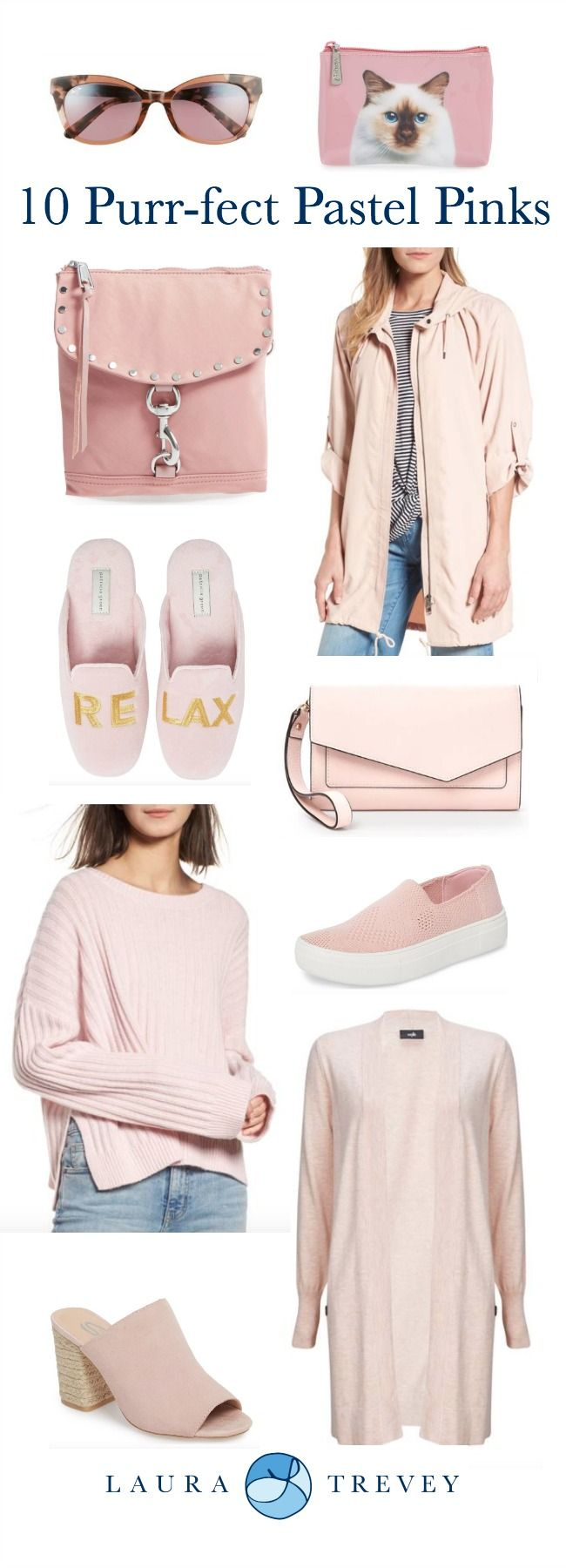 My new color crush, Spring Pastel Pinks. I spied the new Rebecca Minkoff crossbody bag which is to die for and it goes purr-fectly with this cozy cashmere sweater. Throw on a pair of jeans and these chic sueded slides, and you're out the door. Click on products below to shop.