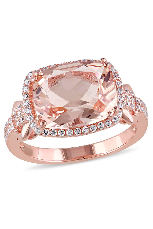 Sofia B - Rose Silver 5.24ct Zirconia & Simulated Morganite Ring | I ...