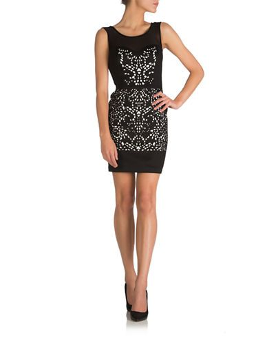 Women's   Party Dresses   Cap Sleeve Sheath With Laser Cutout Detail   Hudson's Bay