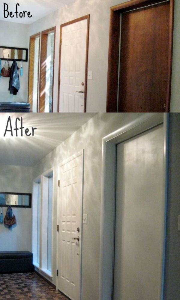 Before And After Painting Wood Trim Doors Featured On Remodelaholic