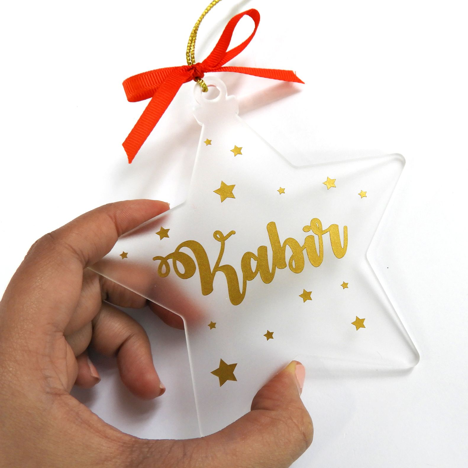 Personalised Star shaped frosted Christmas ornament | Christmas ornaments, Star ornament, Star shape