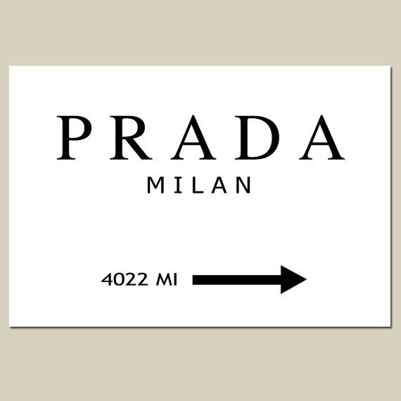 Prada Milan 13x19 Large Size Print Black And White Gossip Girl Fashion Art Customizable With Your City Or State I Black And White Milan Gossip Girl