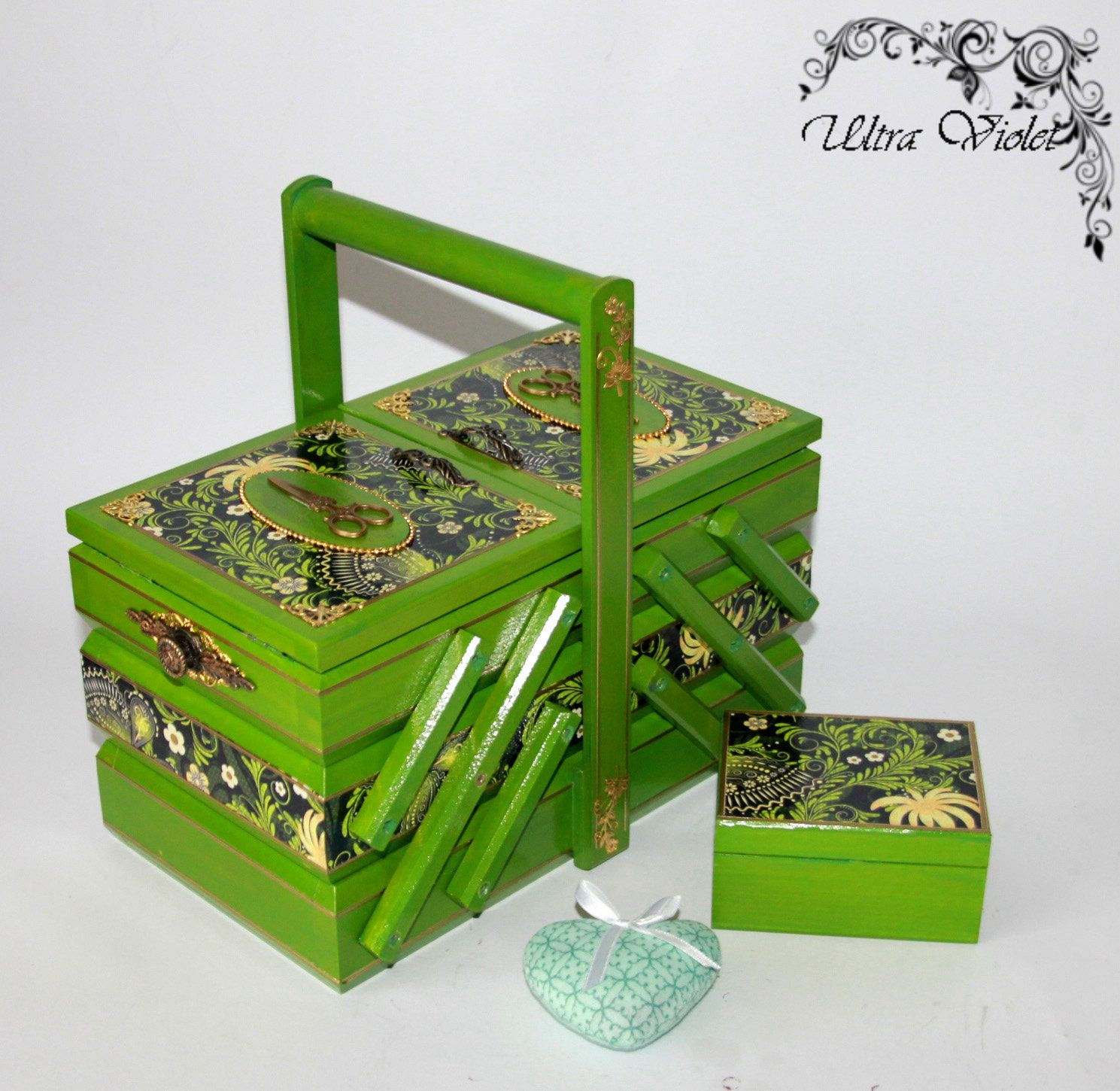 sewing knitting needles box with pin cushion sewing machine