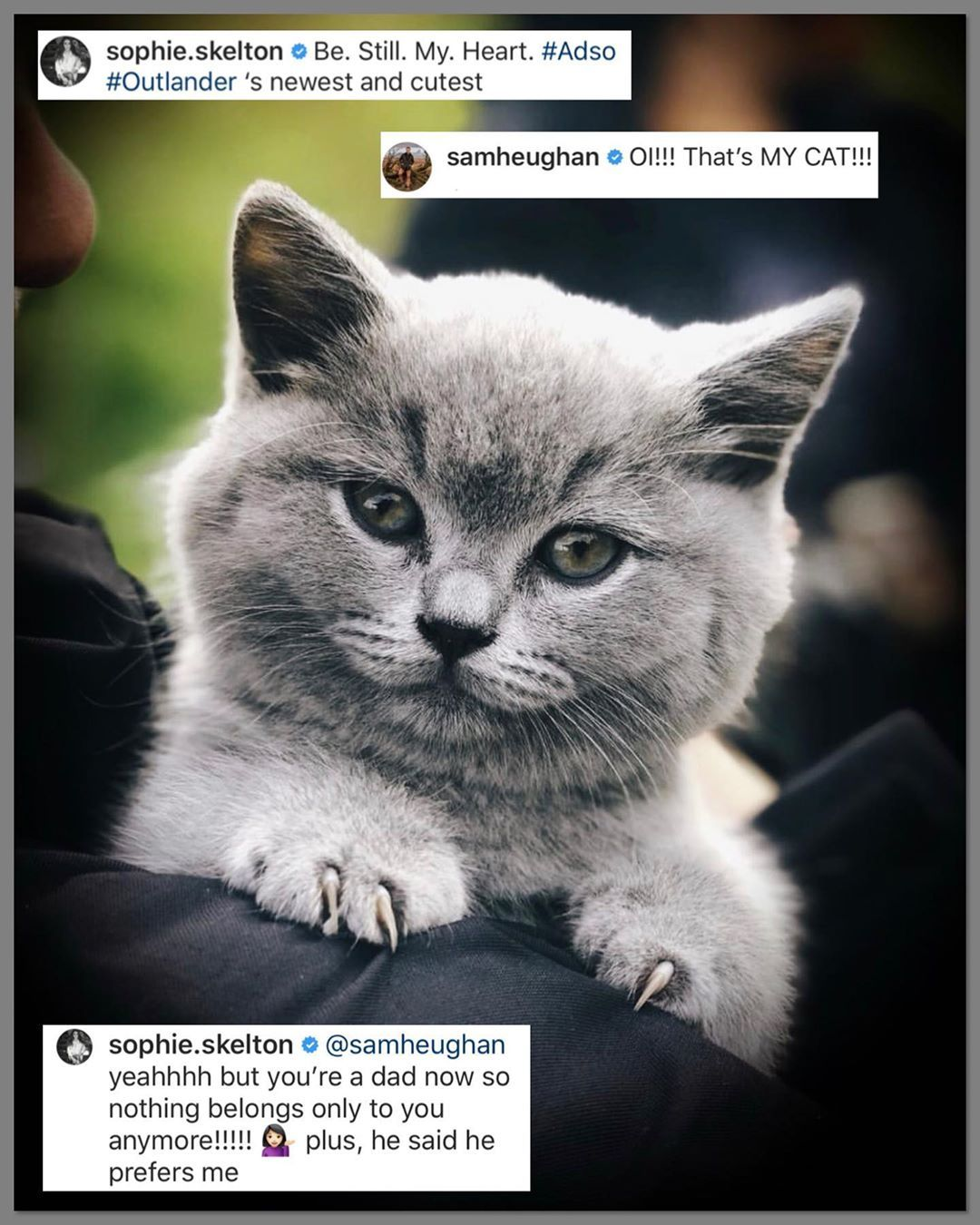 Sophieskelton Posted The Most Adorable Pic Today Of Bear One Of The Kittens That Will Be Playing Adso In S5 Be Stil Outlander Outlander Fan Outlander Starz
