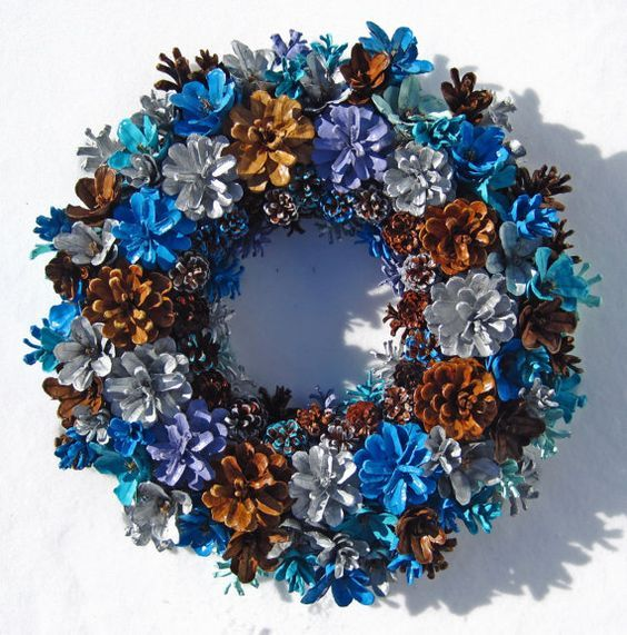 Handmade Natural Winter Colors Pine Cone Wreath Center by EacArt