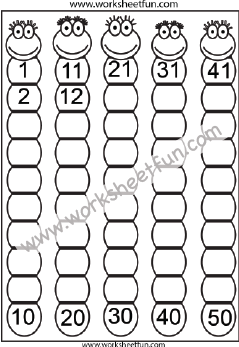 Missing Numbers 1-50 – Eight Worksheets / FREE Printable Worksheets – Worksheetfun #50freeprintables