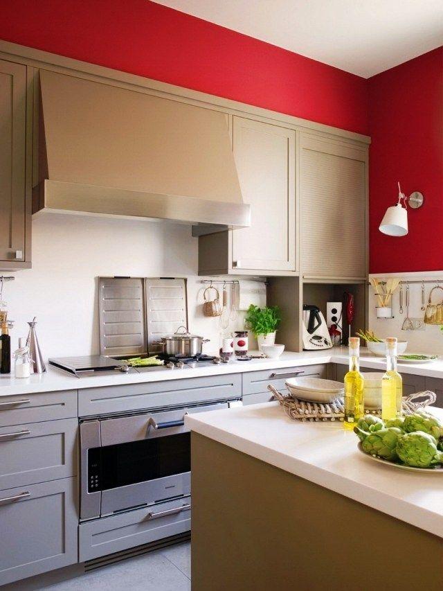 Farbgestaltung Küche Ideen Wandfarbe Rot Landhausstil