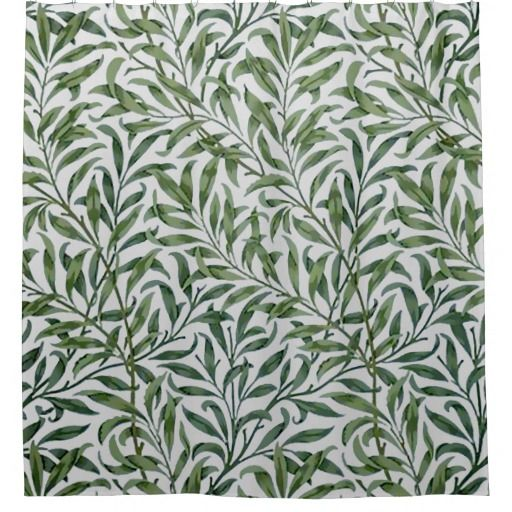 Green Willow Leaves William Morris Shower Curtain Zazzle Com