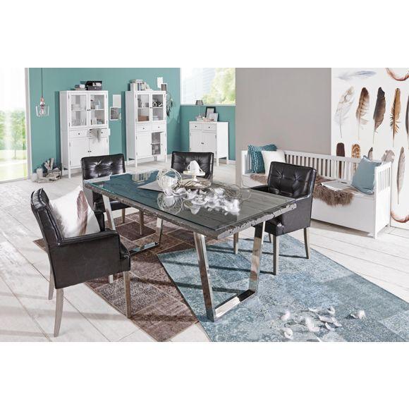 Eindrucksvoller Esstisch von AMBIA HOME aus massivem Echtholz - runder küchentisch weiß