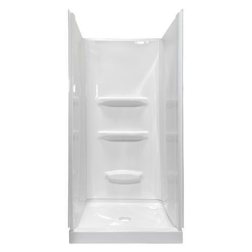 Lyons Elite Trade 32 X 32 X 72 White Center Drain Shower Base And Wall Kit Shower Wall Kits Shower Wall Shower Base