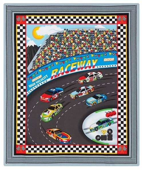 """Fast Track Quilt Kit Thrill race-car fans of all ages with this quilt made from a printed panel. Kit includes directions, batting, panel and backing fabric from First Blush Studio's Fast Track collection for Henry Glass & Co. Throw 35"""" x 42""""."""