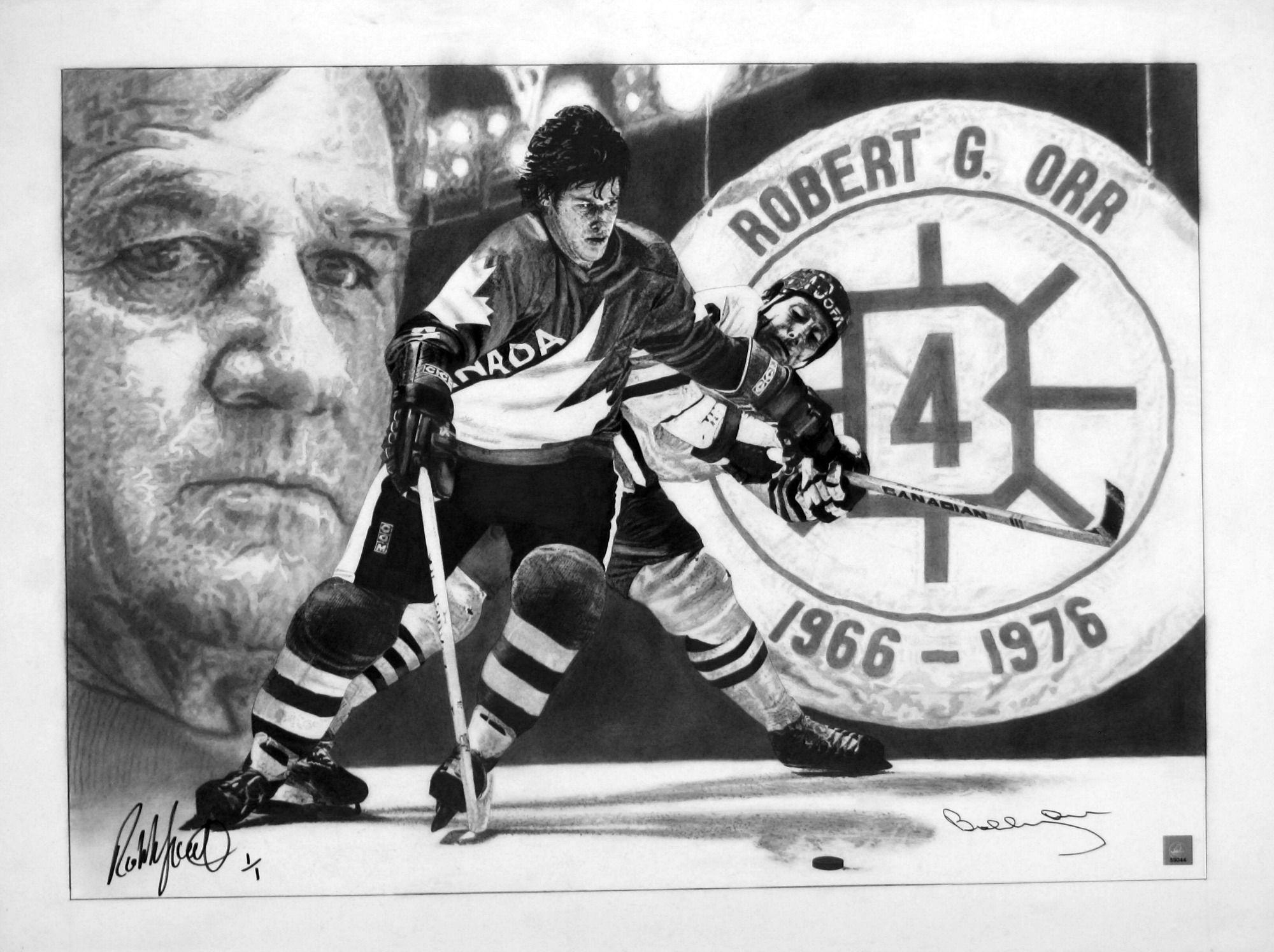 Pencil Drawing By Robb Scott Autographed By Boston Bruin Great Bobby Orr And Artist Robb Scott Bobby Orr Boston Bruins Hockey Boston Sports
